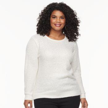 Plus Size Cathy Daniels Embellished Lurex Sweater