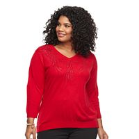 Plus Size Cathy Daniels Embellished V-Neck Sweater