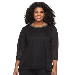 Plus Size Cathy Daniels Embellished Linen Top
