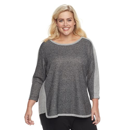 Plus Size Cathy Daniels Colorblock High-Low Top