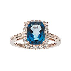 14k Rose Gold Over Silver London Blue Topaz & Lab-Created White Sapphire Halo Ring