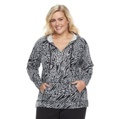 Plus Size Cathy Daniels Animal Print Hoodie