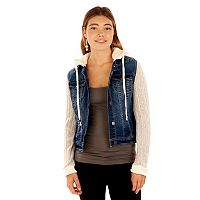 Juniors' Wallflower Sweater Knit Denim Jacket