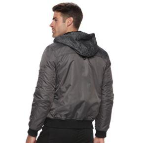 Men's Urban Republic Modern-Fit Mixed Media Hooded Twill Jacket