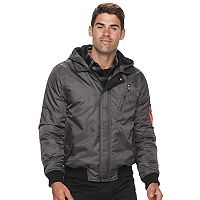 Men's Urban Republic Modern-Fit Mixed Media Hooded Twill Jacket