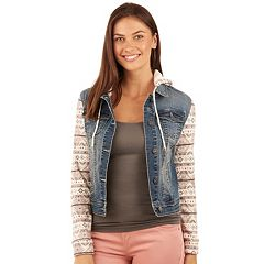 Juniors' Wallflower Print Hooded Jean Jacket