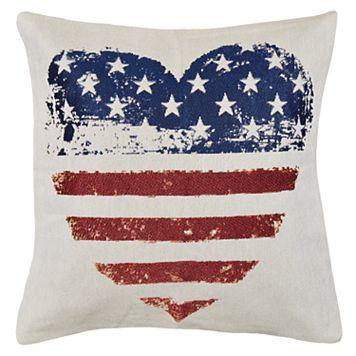 Spencer Home Decor Americana Heart Flag Throw Pillow