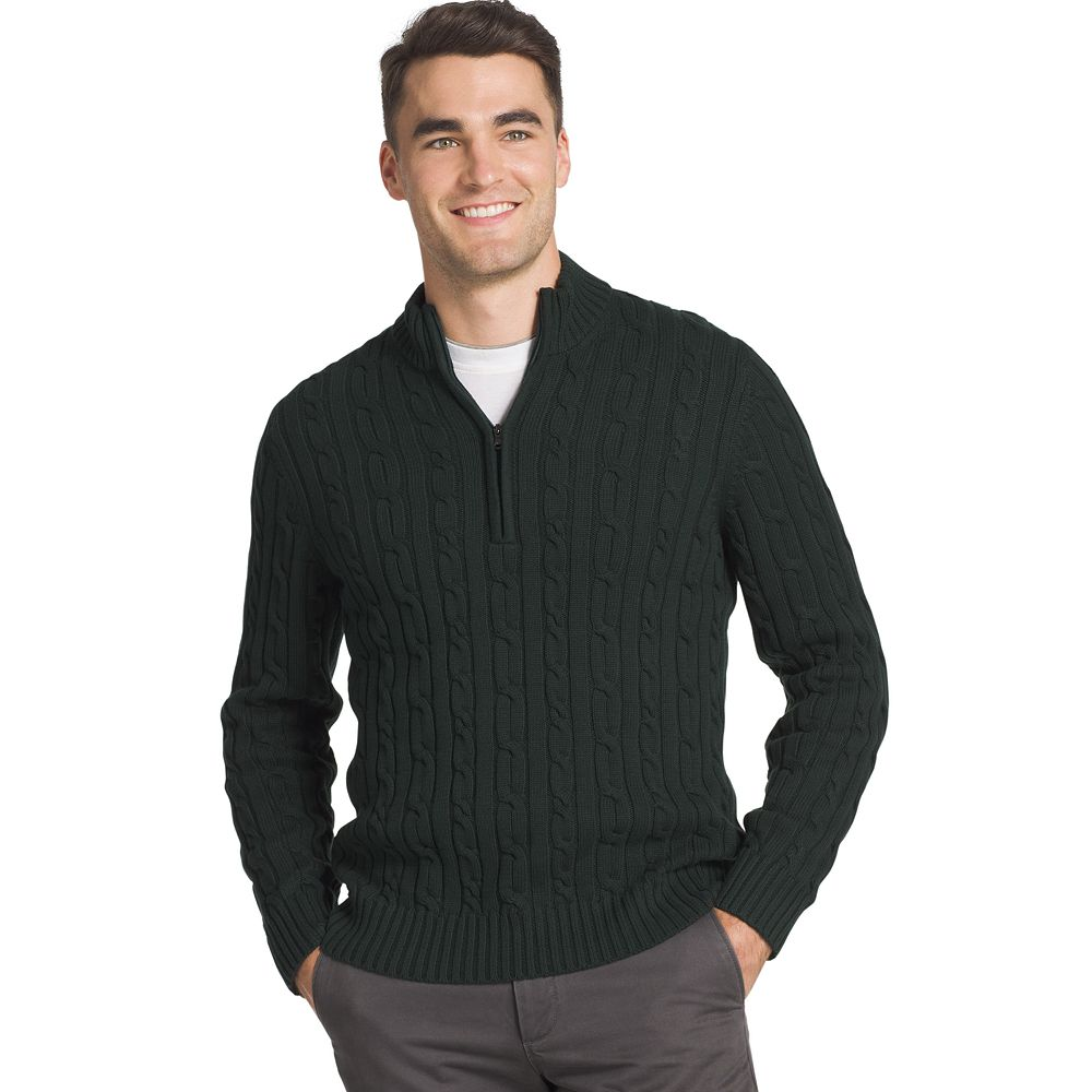 IZOD Regular-Fit Cable Knit Quarter-Zip Sweater