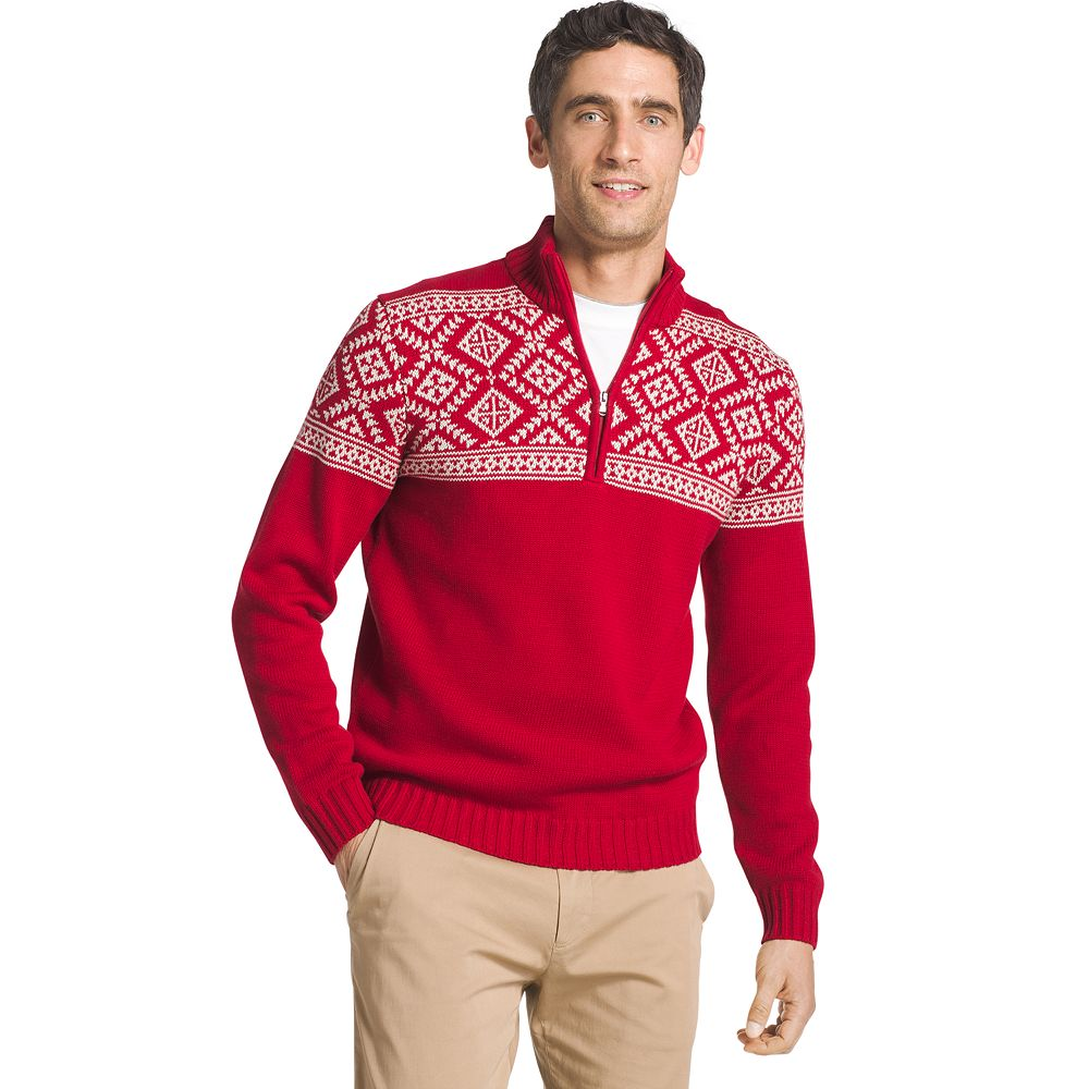 IZOD Regular-Fit Fairisle Quarter-Zip Sweater