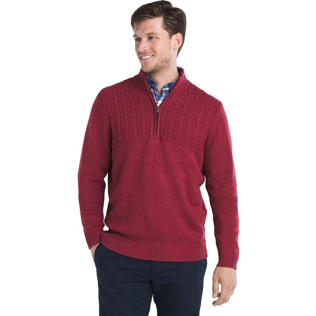 IZOD Newport Regular-Fit Cable-Knit Quarter-Zip Pullover