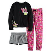 Girls 4-16 SO® 'Slumber Party' Icon Tee, Shorts & Pants Pajama Set