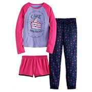 Girls 4-16 SO® Glitter Graphic Tee, Shorts & Pants Pajama Set