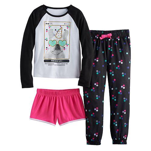 Girls 4-16  SO® Photoreal Dog Tee, Shorts & Polka-Dot Pants Pajama Set