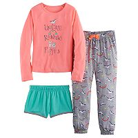 Girls 4-16 SO® Unicorns, Rainbows & Puppies Tee, Shorts & Pants Pajama Set