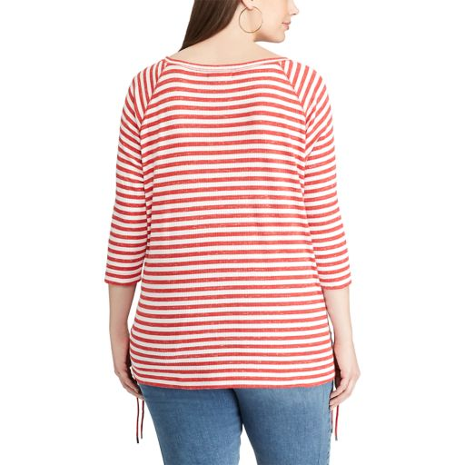 Plus Size Chaps Striped Lace-Up Pullover