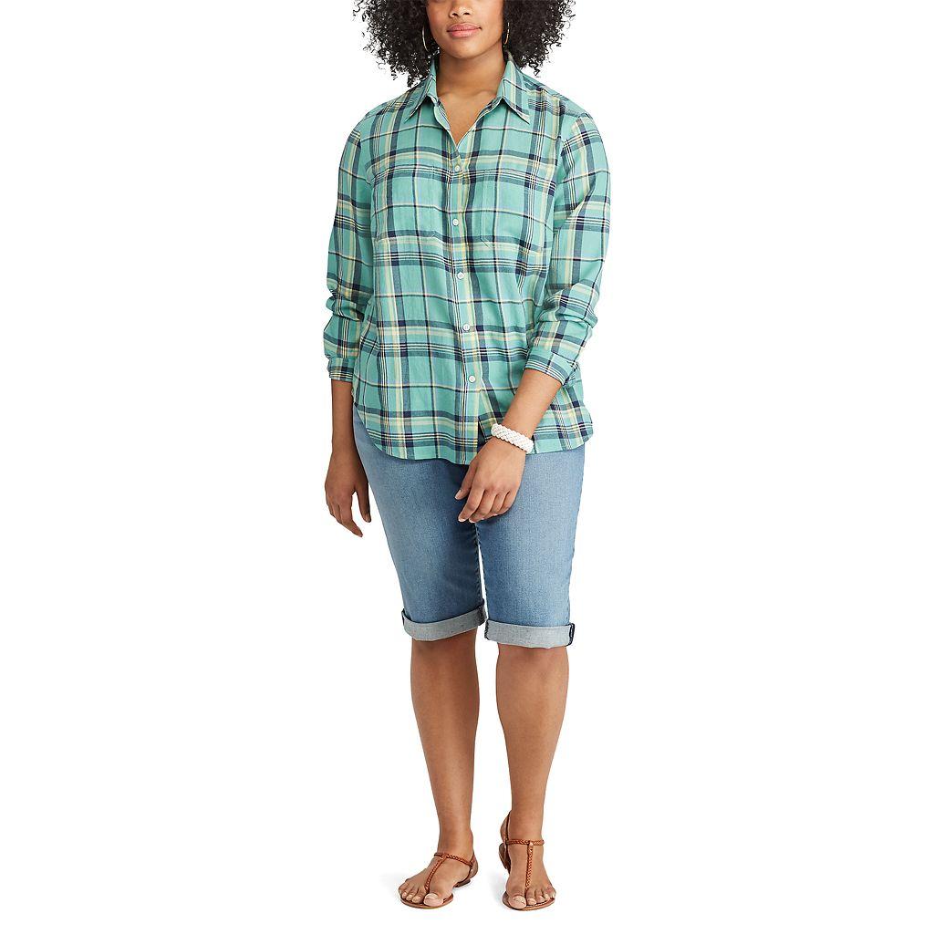 Plus Size Chaps Plaid Twill Shirt