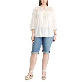 Plus Size Chaps Lace-Yoke Peasant Top