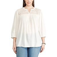 Plus Size Chaps Lace-Yoke Peasant Top