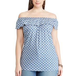 Plus Size Chaps Printed Off-the-Shoulder Top