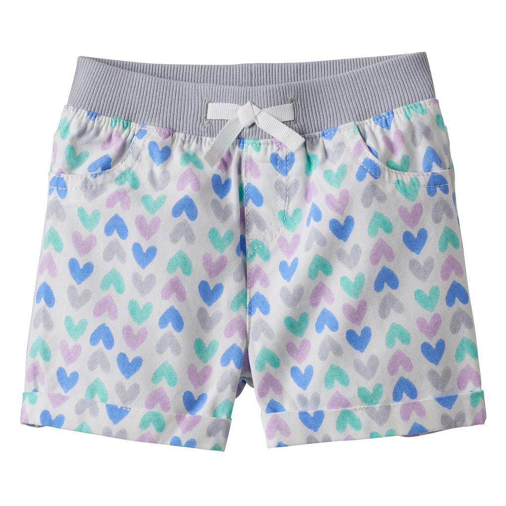 Baby Girl Jumping Beans® Heart Print Cuffed Shorts