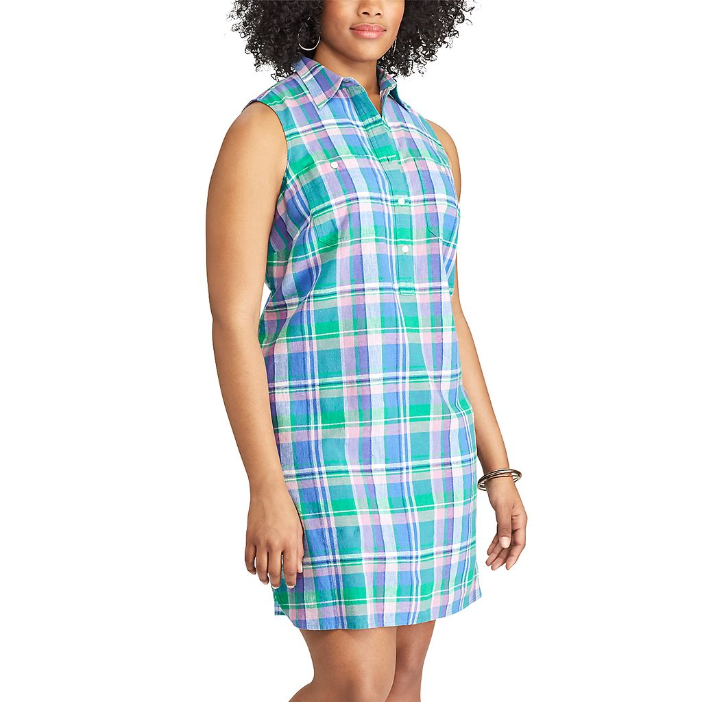 Plus Size Chaps Plaid Linen Blend Shirtdress