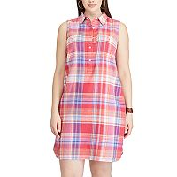 Plus Size Chaps Plaid Linen Blend Shirtdress