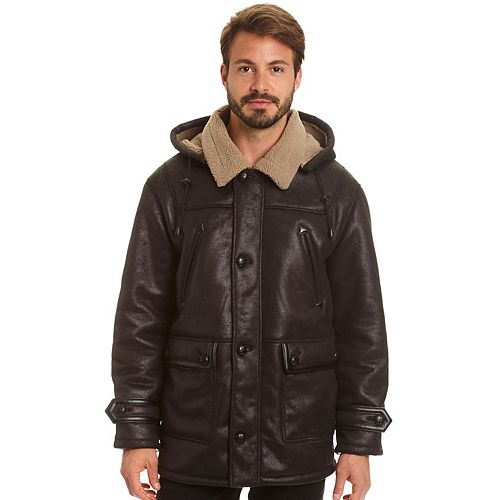 Men's Excelled Hooded Faux-Shearling Jacket
