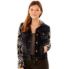 Juniors' Wallflower Print Sleeve Jean Jacket
