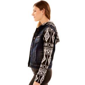 Juniors' Wallflower Print Sleeve Jean Jacket