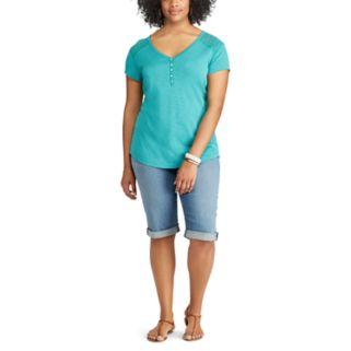 Plus Size Chaps Lace Yoke Henley