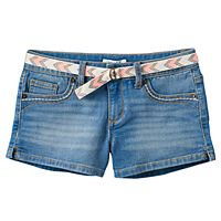 Girls Plus Size Mudd® Belted Medium Wash Jean Shortie Shorts