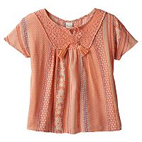 Girls Plus Size Mudd® Foil Print Gauze Peasant Top