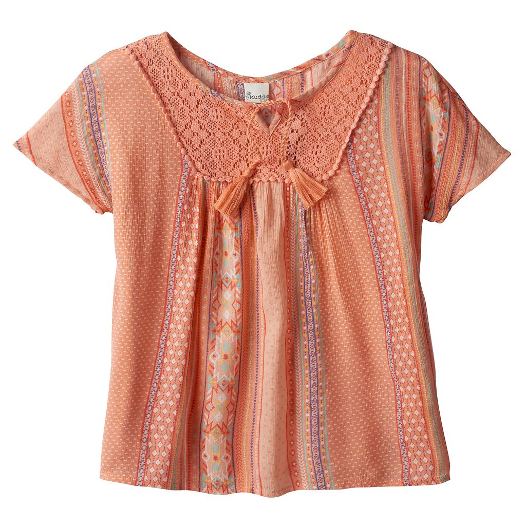 Girls 7-16 Mudd® Foil Print Gauze Peasant Top