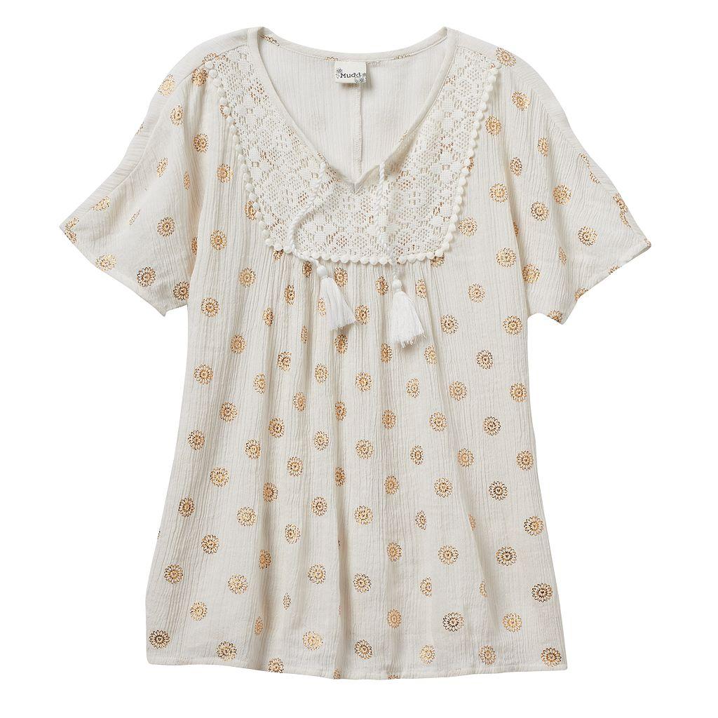 Girls 7-16 Mudd® Foil Print Gauze Peasant Top