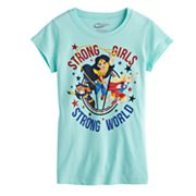 Girls 7-16 'Strong Girls Strong World' Wonder Woman, Batgirl & Supergirl Graphic Tee