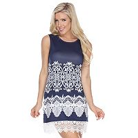 Women's White Mark Print Crochet Sheath Dress