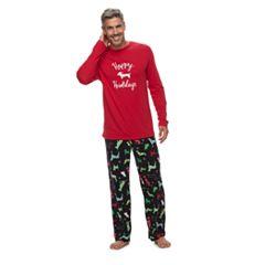 Men's Jammies For Your Families Holiday Dog Top & Fleece Bottoms Pajama Set