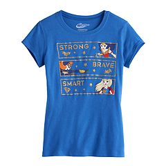 Girls 7-16 'Strong Brave Smart' Wonder Woman, Batgirl & Supergirl Glitter Graphic Tee