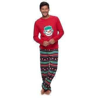 Men's Jammies For Your Families Snowman Top & Fleece Bottoms Pajama Set