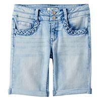 Girls 7-16 Mudd® Braided Pocket Bermuda Jean Shorts
