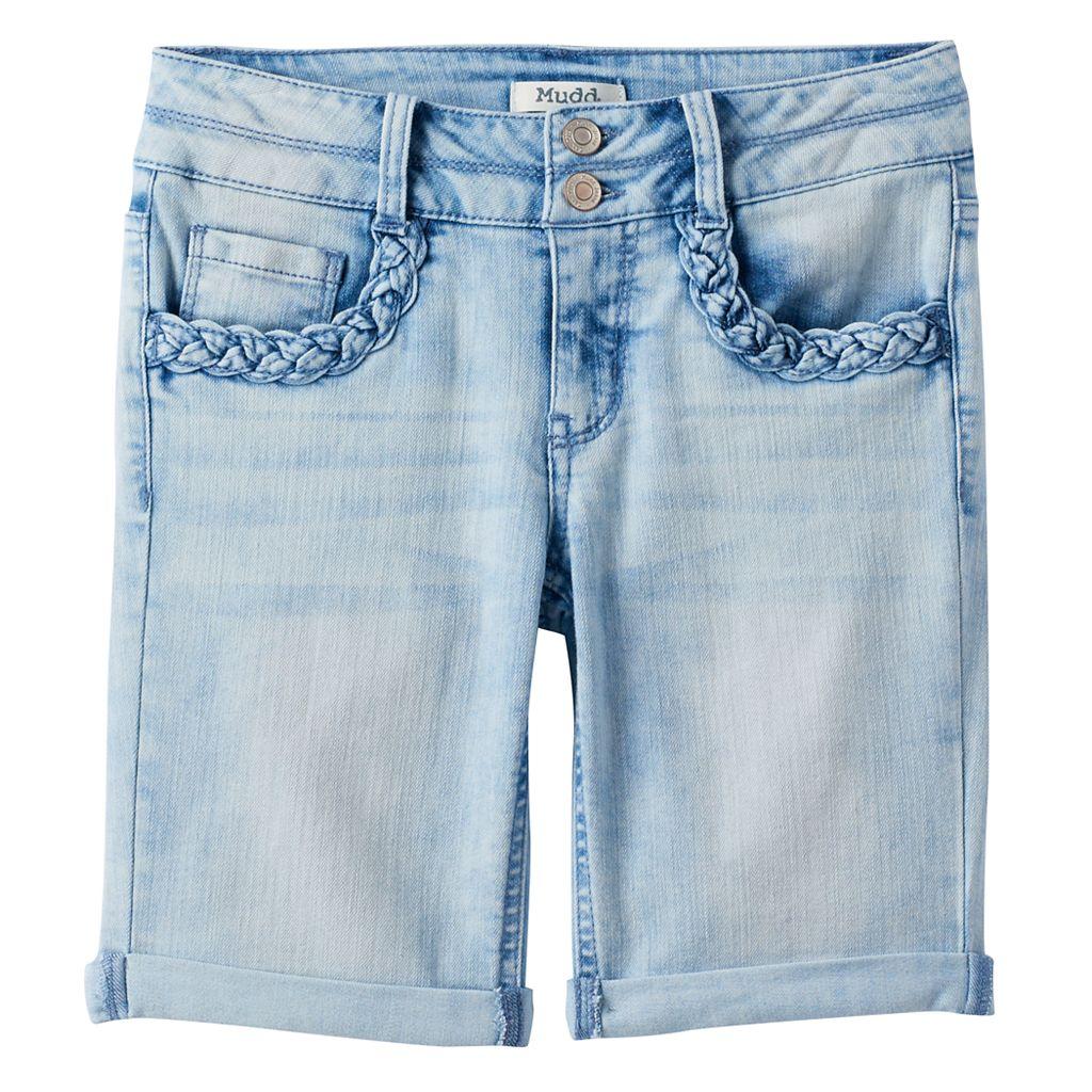 Girls Plus Size Mudd® Braided Pocket Bermuda Jean Shorts