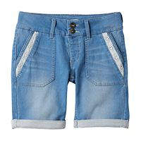 Girls Plus Size SO® Lace Trim Bermuda Jean Shorts