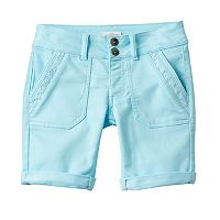 Girls 7-16 SO® Lace Trim Bermuda Twill Shorts
