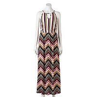 Juniors' Trixxi Chevron Halter Maxi Dress