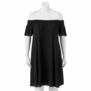 Juniors' Plus Size SO® Off The Shoulder Shift Dress