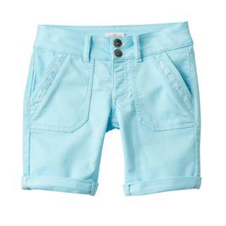 Girls Plus Size SO® Lace Trim Bermuda Twill Shorts