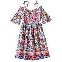 Girls 7-16 Mudd® Off Shoulder Smocked Printed Gauze Dress