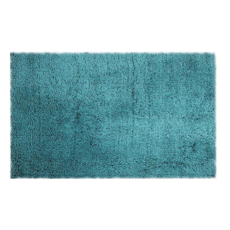 Chesapeake Microfiber Solid Shag Rug. Turquoise/Blue. 5X7 Ft