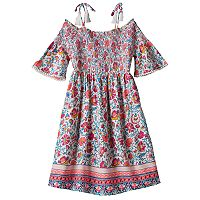 Girls Plus Size Mudd® Off Shoulder Smocked Printed Gauze Dress
