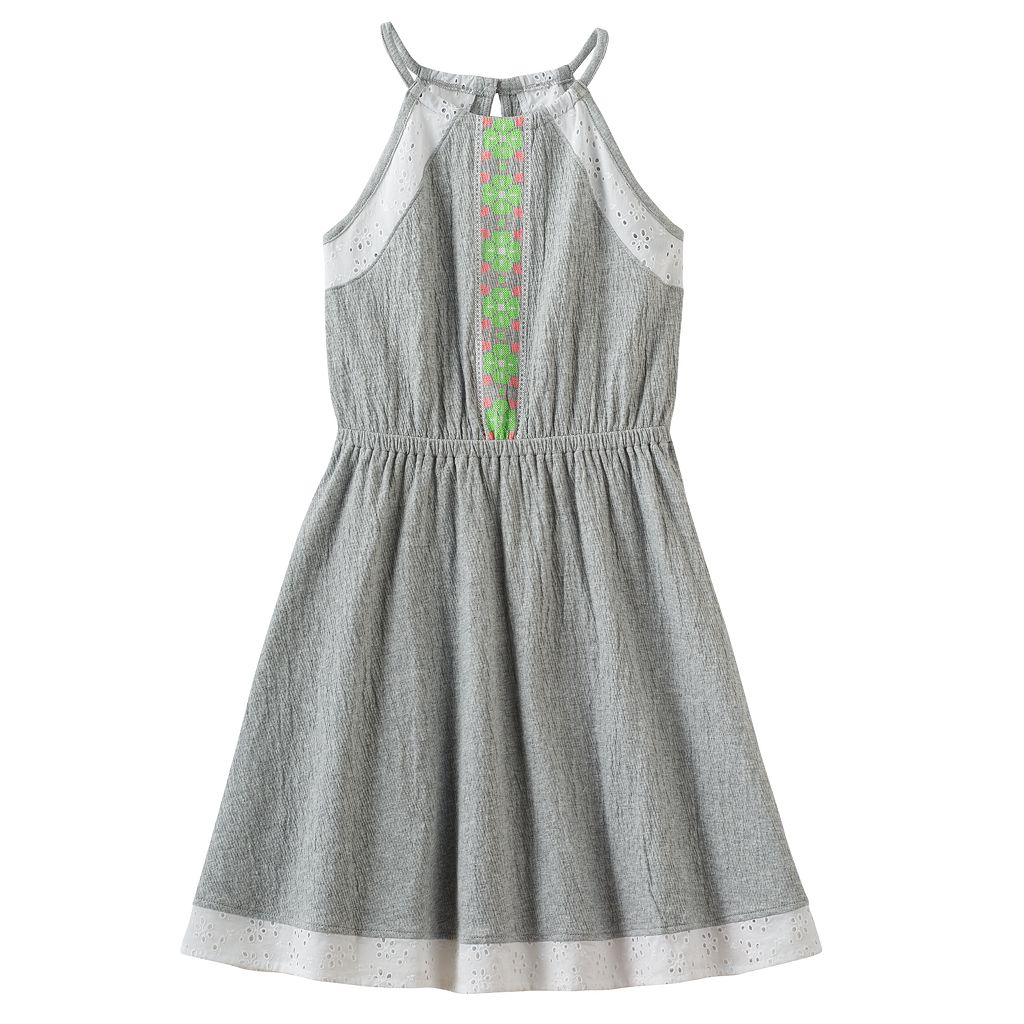 Girls 7-16 SO® Eyelet Crinkle Knit Dress